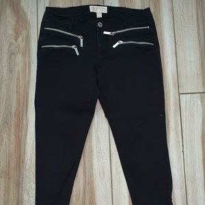 Michael Kors black jeans with silver zippers